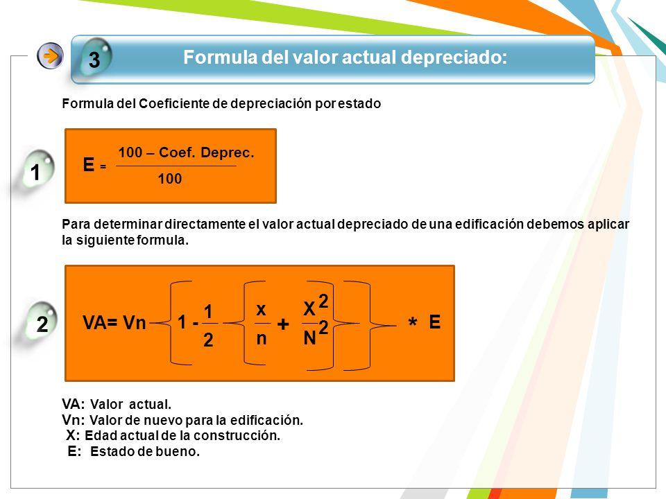 Formula del valor actual depreciado: 3 Formula del Coeficiente de depreciación por estado E = 100 100 – Coef. Deprec. 1 Para determinar directamente e