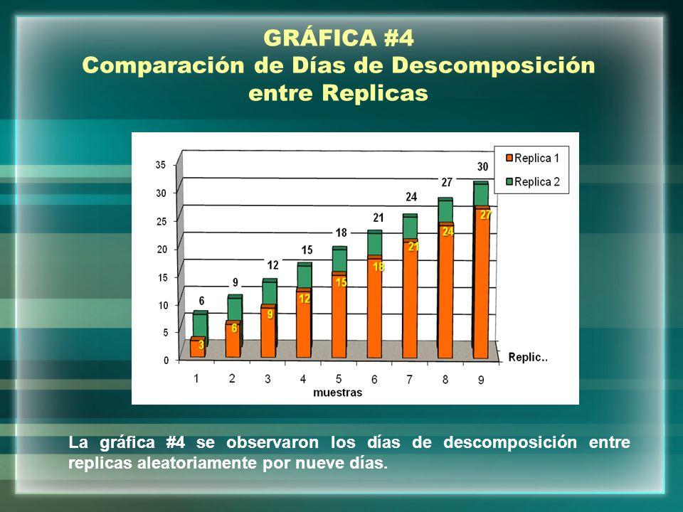 GRÁFICA #4 Comparación de Días de Descomposición entre Replicas La gráfica #4 se observaron los días de descomposición entre replicas aleatoriamente p