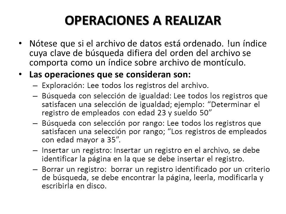 OPERACIONES A REALIZAR Nótese que si el archivo de datos está ordenado.