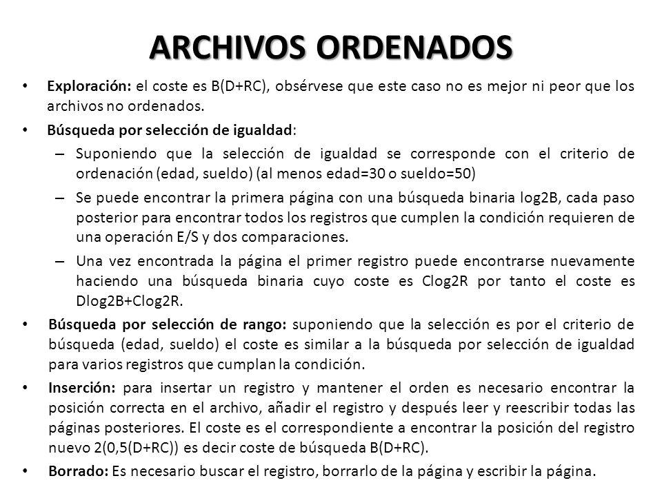 ARCHIVOS ORDENADOS Exploración: el coste es B(D+RC), obsérvese que este caso no es mejor ni peor que los archivos no ordenados.