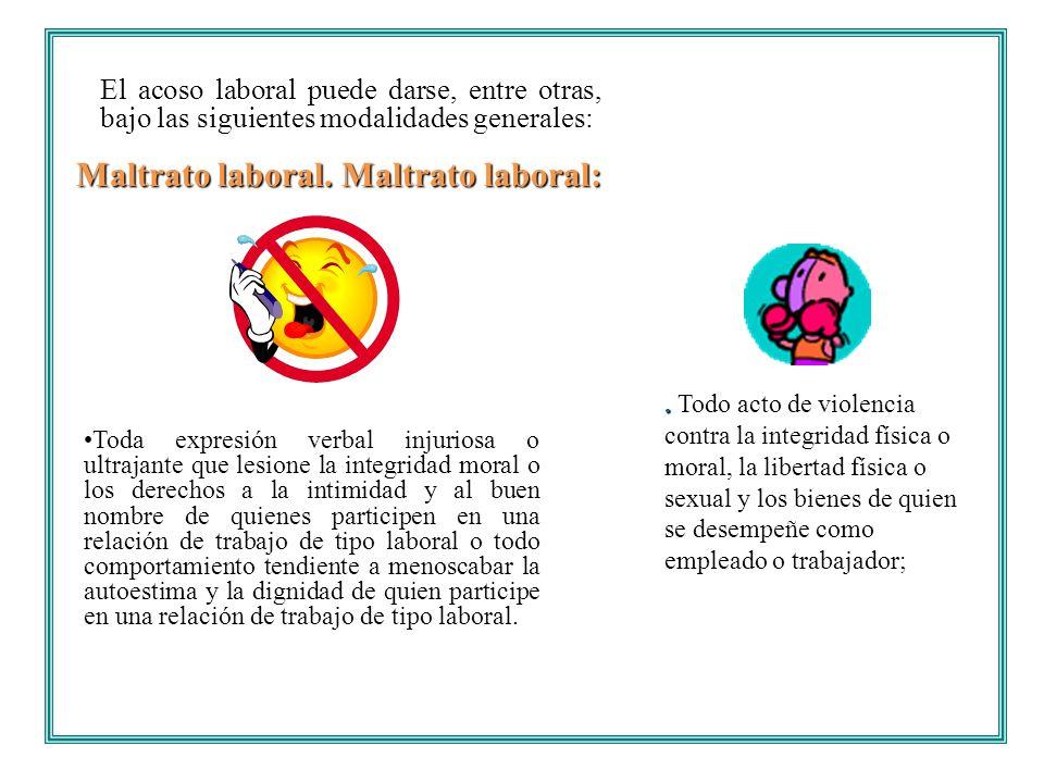 El acoso laboral puede darse, entre otras, bajo las siguientes modalidades generales: Toda expresión verbal injuriosa o ultrajante que lesione la inte
