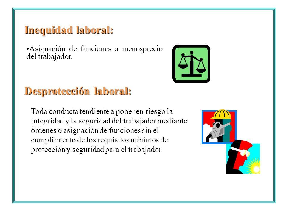 Inequidad laboral: Desprotección laboral: Asignación de funciones a menosprecio del trabajador. Toda conducta tendiente a poner en riesgo la integrida