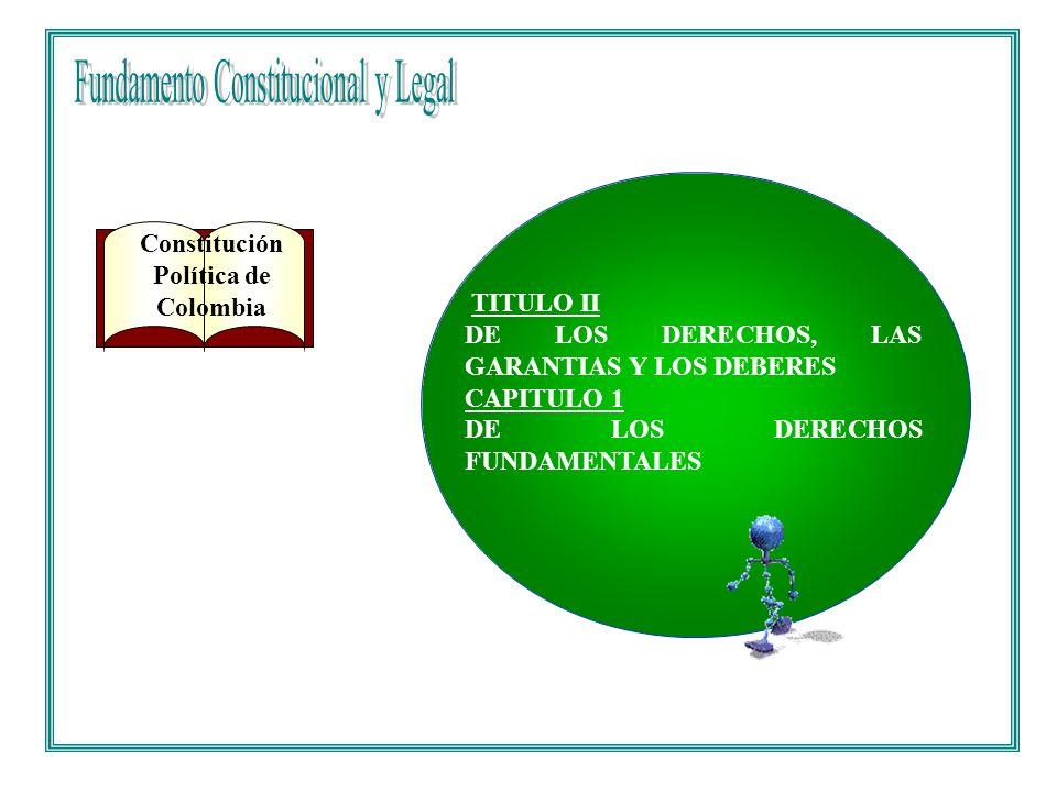 Constitución Política de Colombia TITULO II DE LOS DERECHOS, LAS GARANTIAS Y LOS DEBERES CAPITULO 1 DE LOS DERECHOS FUNDAMENTALES
