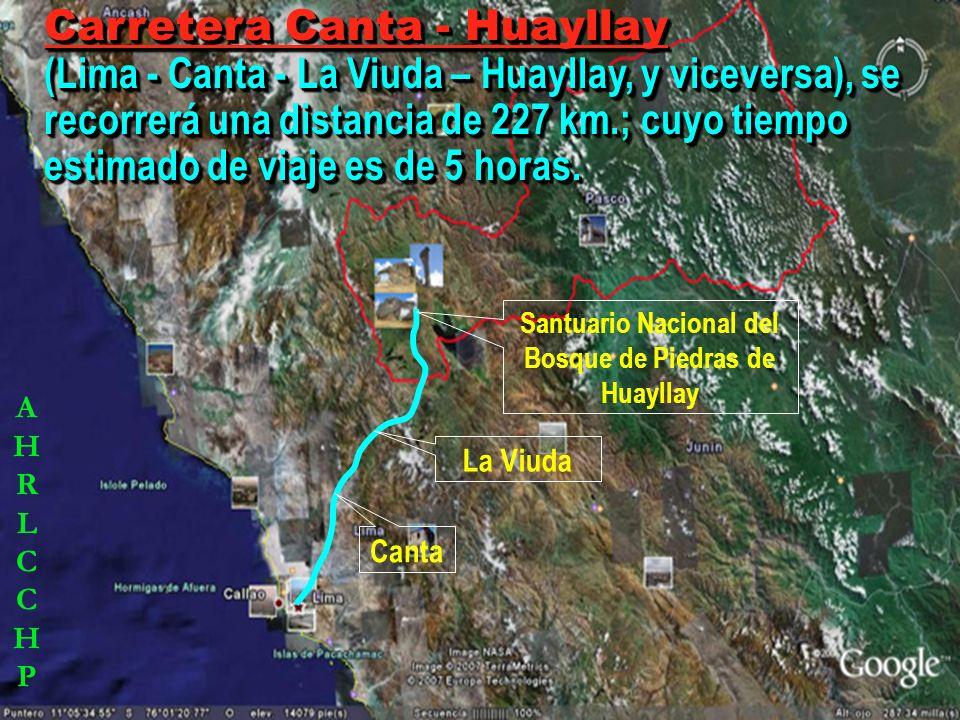Carretera Huaral - Huayllay (Lima - Huaral - Acos - Vichaycocha - Antajirca – Huayllay, y viceversa), se recorrerá una distancia 242 Km.; cuyo tiempo