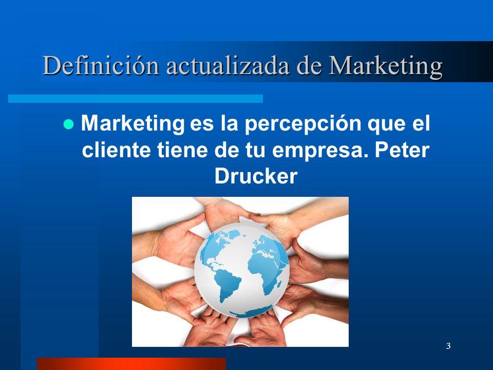 3 Definición actualizada de Marketing Marketing es la percepción que el cliente tiene de tu empresa. Peter Drucker