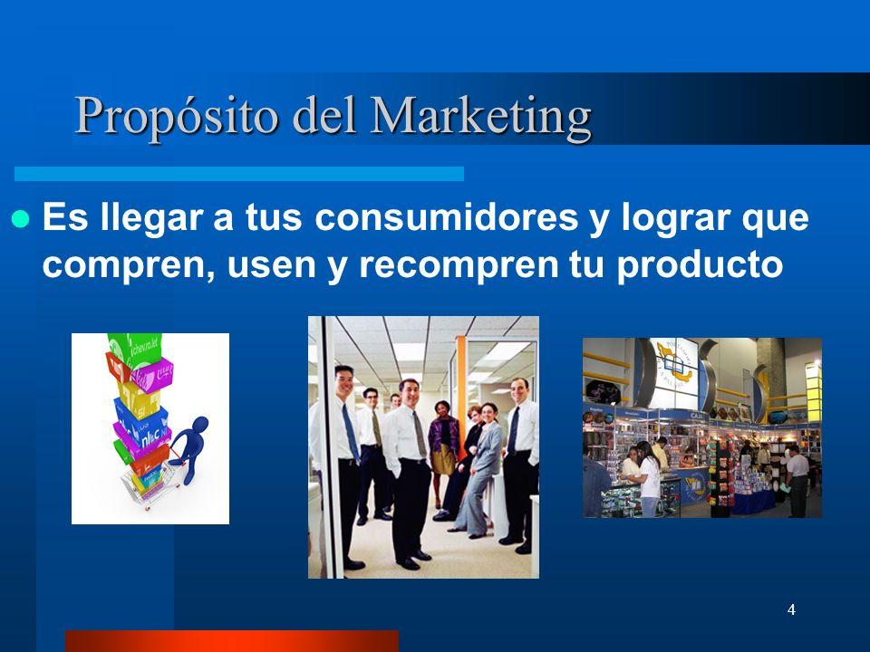4 Propósito del Marketing Es llegar a tus consumidores y lograr que compren, usen y recompren tu producto