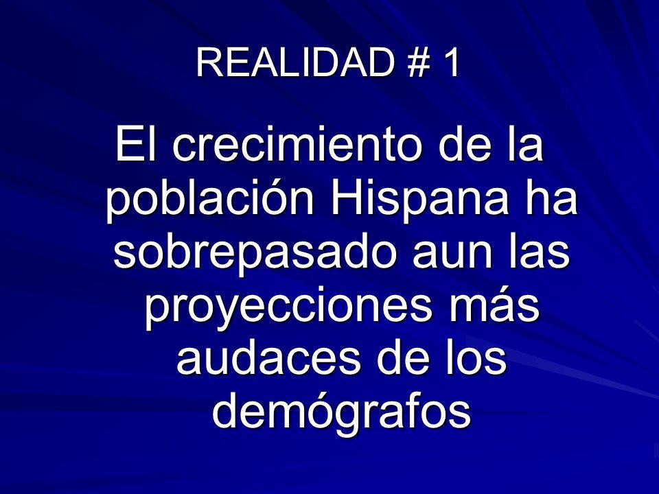 REALIDAD # 1 El crecimiento de la población Hispana ha sobrepasado aun las proyecciones más audaces de los demógrafos