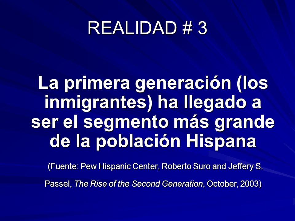 REALIDAD # 3 La primera generación (los inmigrantes) ha llegado a ser el segmento más grande de la población Hispana (Fuente: Pew Hispanic Center, Rob