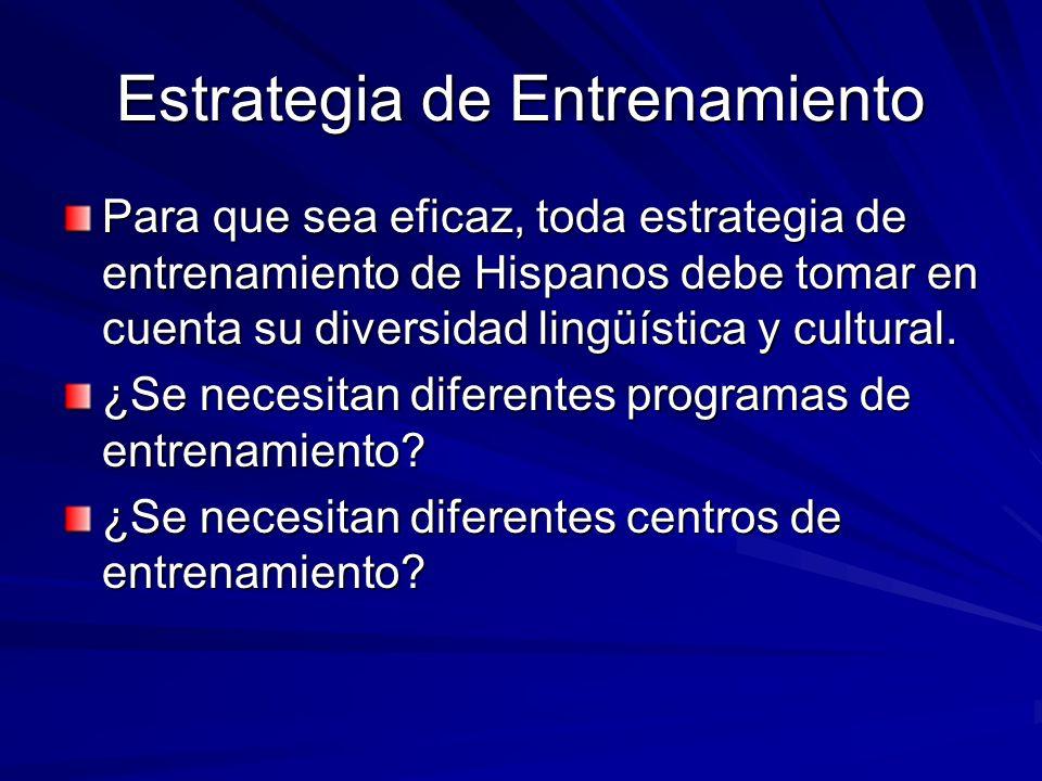 Estrategia de Entrenamiento Para que sea eficaz, toda estrategia de entrenamiento de Hispanos debe tomar en cuenta su diversidad lingüística y cultura