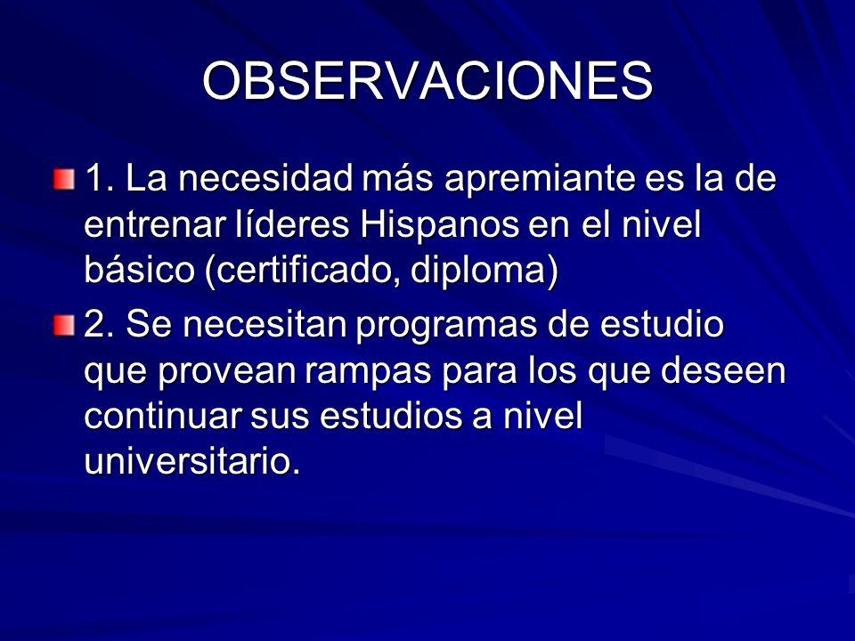 OBSERVACIONES 1. La necesidad más apremiante es la de entrenar líderes Hispanos en el nivel básico (certificado, diploma) 2. Se necesitan programas de