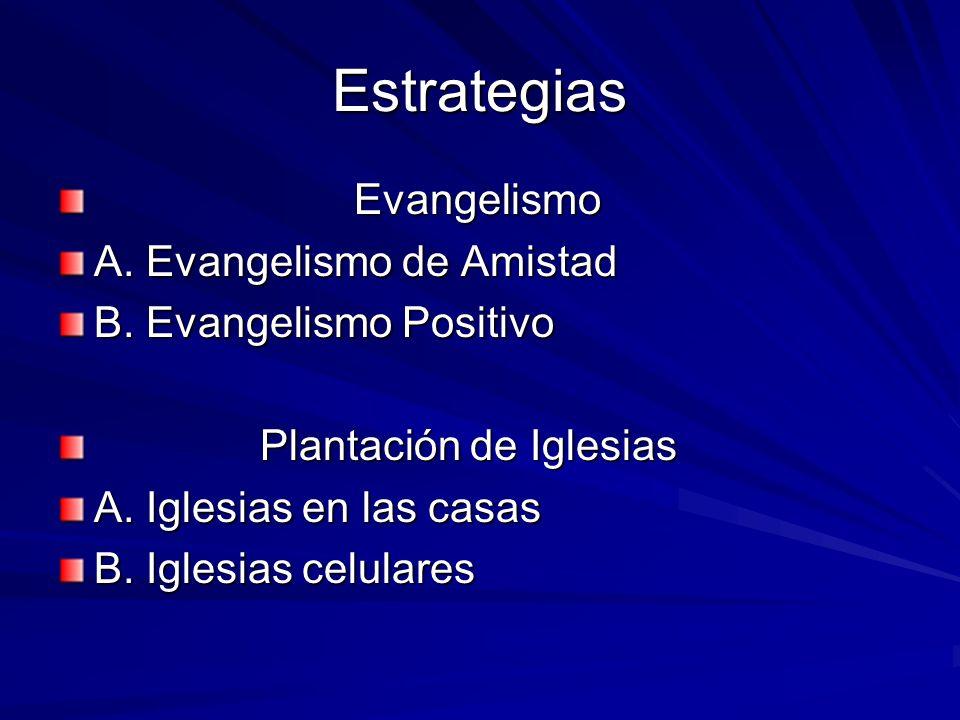 Estrategias Evangelismo Evangelismo A. Evangelismo de Amistad B. Evangelismo Positivo Plantación de Iglesias Plantación de Iglesias A. Iglesias en las