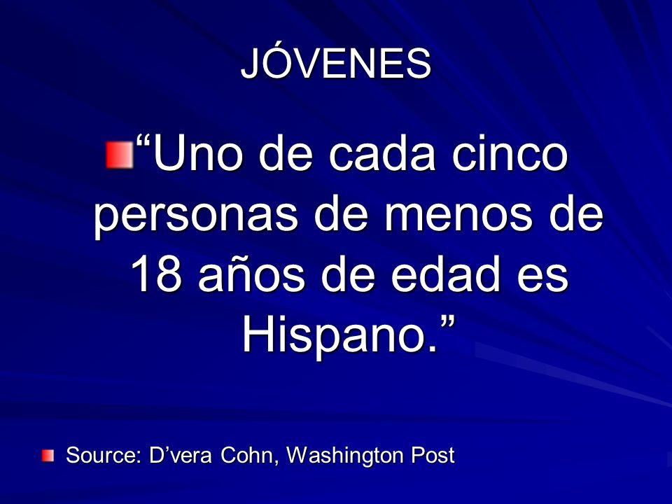 JÓVENES Uno de cada cinco personas de menos de 18 años de edad es Hispano. Source: Dvera Cohn, Washington Post