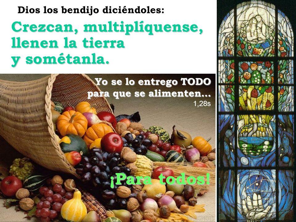 Crezcan, multiplíquense, llenen la tierra y sométanla. Yo se lo entrego TODO para que se alimenten… 1,28s Dios los bendijo diciéndoles: ¡Para todos!