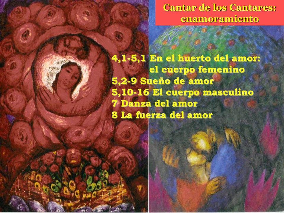 4,1-5,1 En el huerto del amor: el cuerpo femenino 5,2-9 Sueño de amor 5,10-16 El cuerpo masculino 7 Danza del amor 8 La fuerza del amor Cantar de los