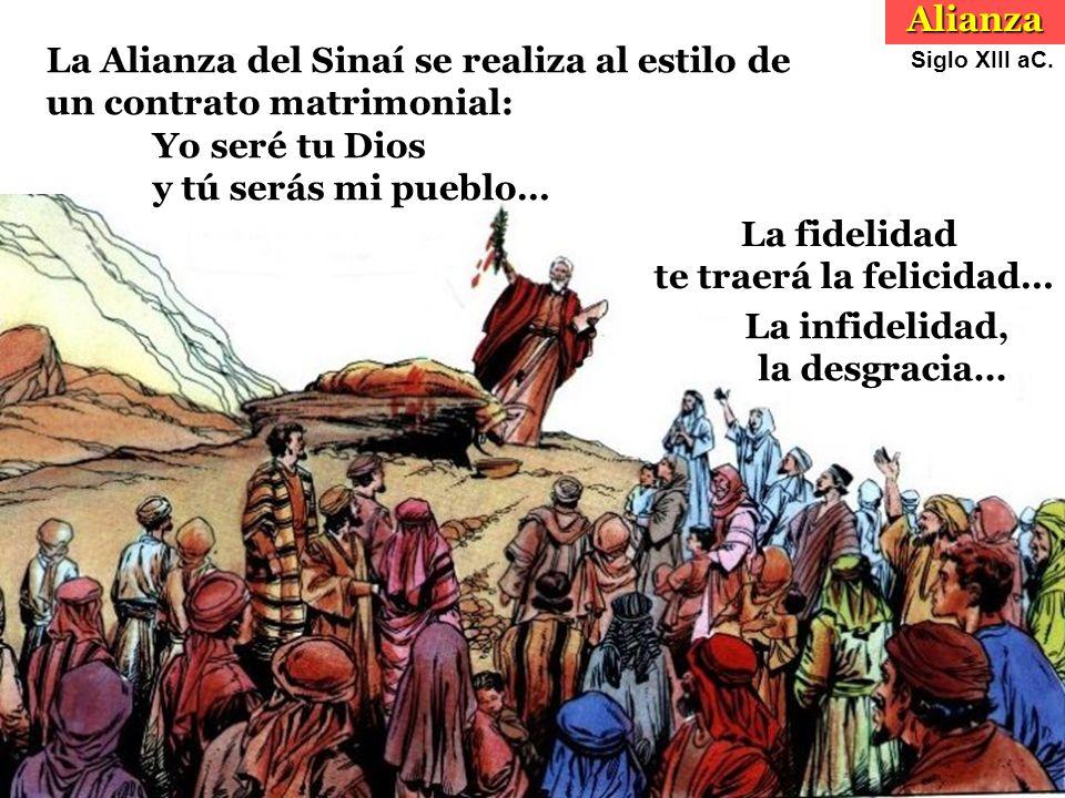 La Alianza del Sinaí se realiza al estilo de un contrato matrimonial: Yo seré tu Dios y tú serás mi pueblo… La infidelidad, la desgracia…Alianza Siglo