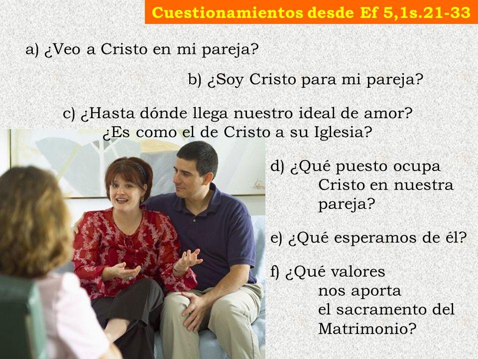 c) ¿Hasta dónde llega nuestro ideal de amor? ¿Es como el de Cristo a su Iglesia? e) ¿Qué esperamos de él? d) ¿Qué puesto ocupa Cristo en nuestra parej