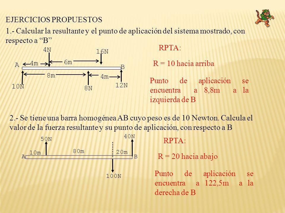 AB 80m 10m 20m 50N 100N 40N 1.- Calcular la resultante y el punto de aplicación del sistema mostrado, con respecto a B 2.- Se tiene una barra homogéne