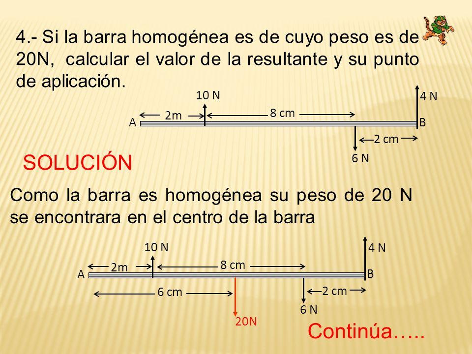 4.- Si la barra homogénea es de cuyo peso es de 20N, calcular el valor de la resultante y su punto de aplicación. A B 2 cm 2m 10 N 6 N 4 N 8 cm A B 2