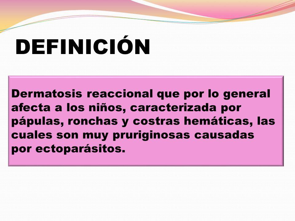 DEFINICIÓN Dermatosis reaccional que por lo general afecta a los niños, caracterizada por pápulas, ronchas y costras hemáticas, las cuales son muy pru