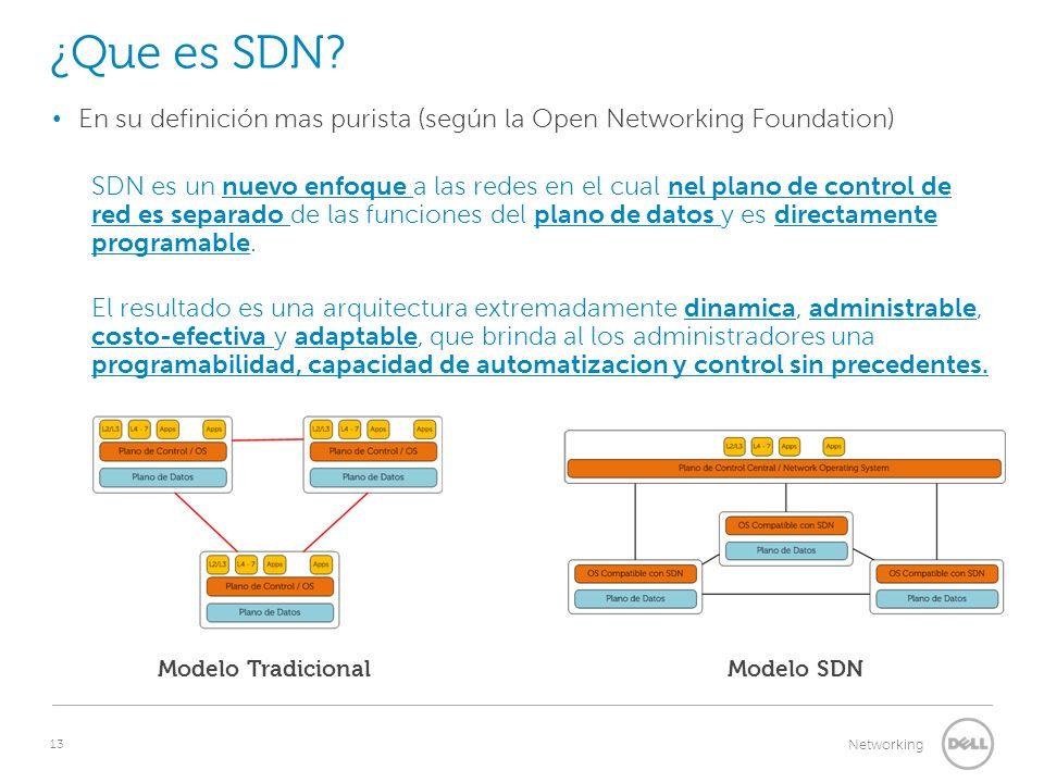 13 Networking ¿Que es SDN? En su definición mas purista (según la Open Networking Foundation) SDN es un nuevo enfoque a las redes en el cual nel plano