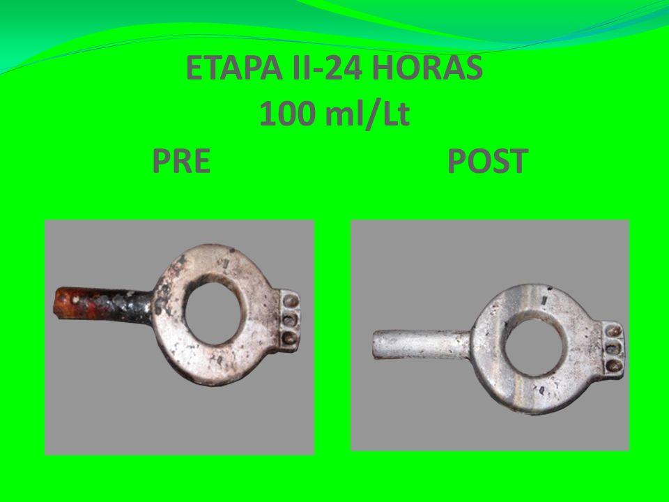Esta etapa se caracterizó por partir de lo recibido de la ETAPA I (20 ml/Lt de agua), realizándose un incremento de la dosis ( 100 ml/Lt de agua), est