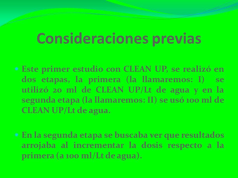 Consideraciones previas Este primer estudio con CLEAN UP, se realizó en dos etapas, la primera (la llamaremos: I) se utilizó 20 ml de CLEAN UP/Lt de agua y en la segunda etapa (la llamaremos: II) se usó 100 ml de CLEAN UP/Lt de agua.