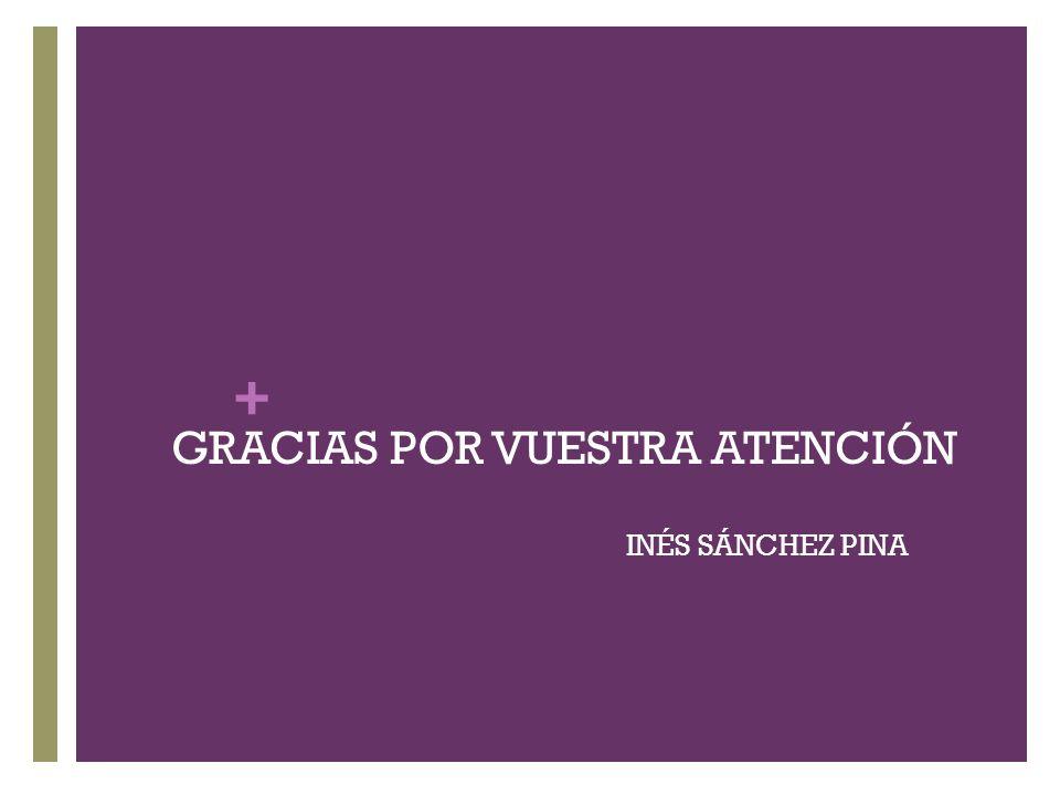 + GRACIAS POR VUESTRA ATENCIÓN INÉS SÁNCHEZ PINA