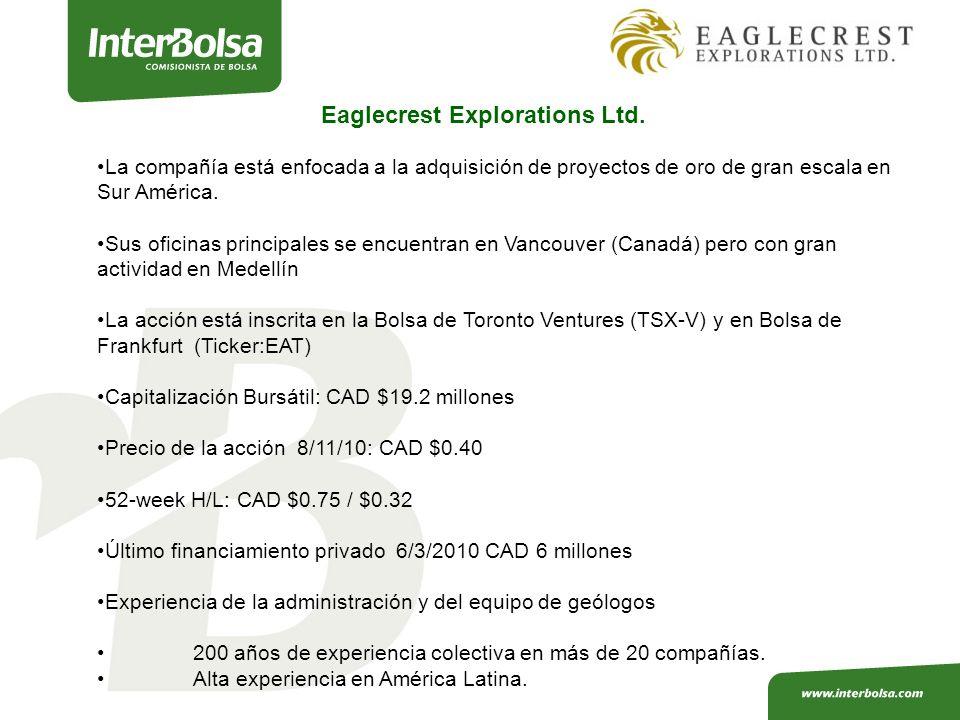 La compañía está enfocada a la adquisición de proyectos de oro de gran escala en Sur América.