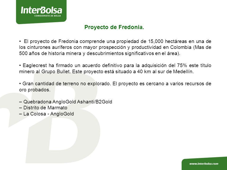 El proyecto de Fredonia comprende una propiedad de 15,000 hectáreas en una de los cinturones auríferos con mayor prospección y productividad en Colombia (Mas de 500 años de historia minera y descubrimientos significativos en el área).