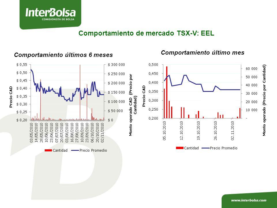 Comportamiento de mercado TSX-V: EEL Comportamiento últimos 6 meses Comportamiento último mes