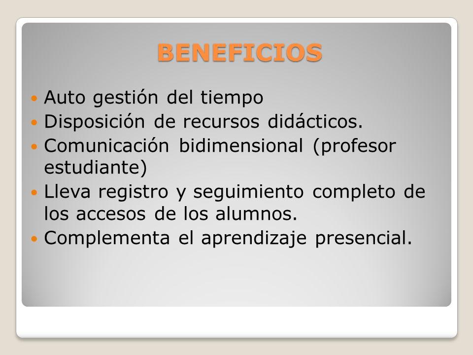 BENEFICIOS Auto gestión del tiempo Disposición de recursos didácticos. Comunicación bidimensional (profesor estudiante) Lleva registro y seguimiento c