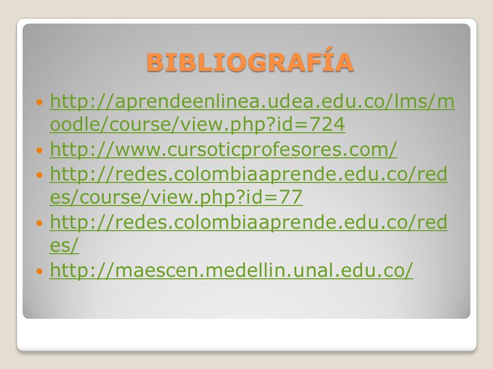 BIBLIOGRAFÍA http://aprendeenlinea.udea.edu.co/lms/m oodle/course/view.php?id=724 http://aprendeenlinea.udea.edu.co/lms/m oodle/course/view.php?id=724 http://www.cursoticprofesores.com/ http://redes.colombiaaprende.edu.co/red es/course/view.php?id=77 http://redes.colombiaaprende.edu.co/red es/course/view.php?id=77 http://redes.colombiaaprende.edu.co/red es/ http://redes.colombiaaprende.edu.co/red es/ http://maescen.medellin.unal.edu.co/