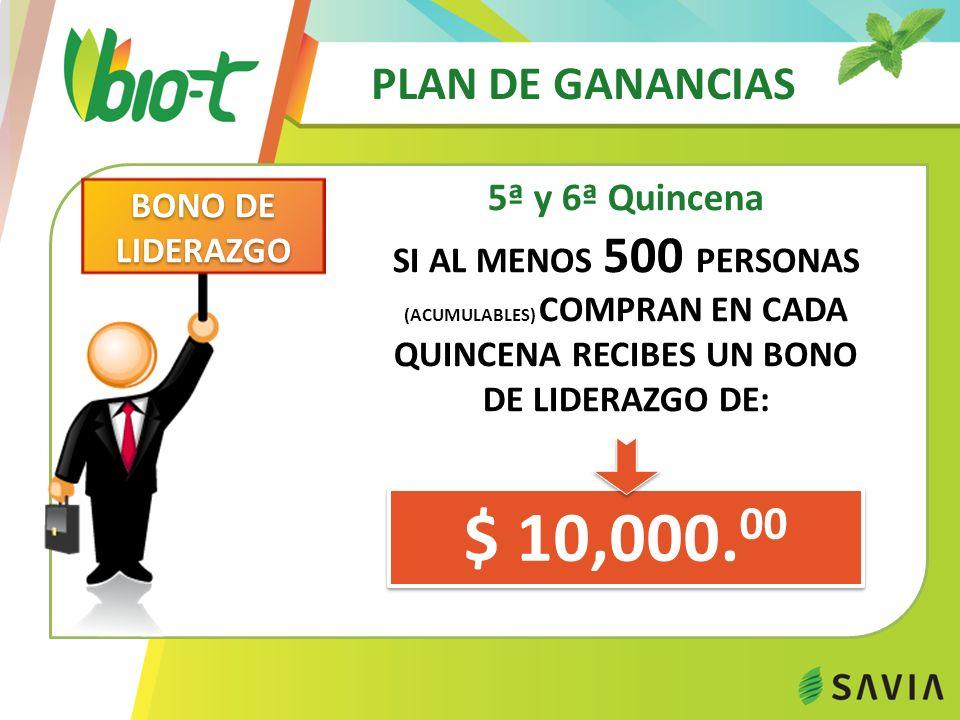 PLAN DE GANANCIAS 5ª y 6ª Quincena $ 10,000. 00 BONO DE LIDERAZGO SI AL MENOS 500 PERSONAS (ACUMULABLES) COMPRAN EN CADA QUINCENA RECIBES UN BONO DE L