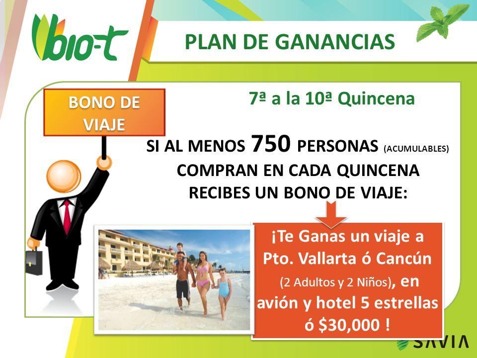 PLAN DE GANANCIAS 7ª a la 10ª Quincena ¡Te Ganas un viaje a Pto. Vallarta ó Cancún (2 Adultos y 2 Niños), en avión y hotel 5 estrellas ó $30,000 ! ¡Te