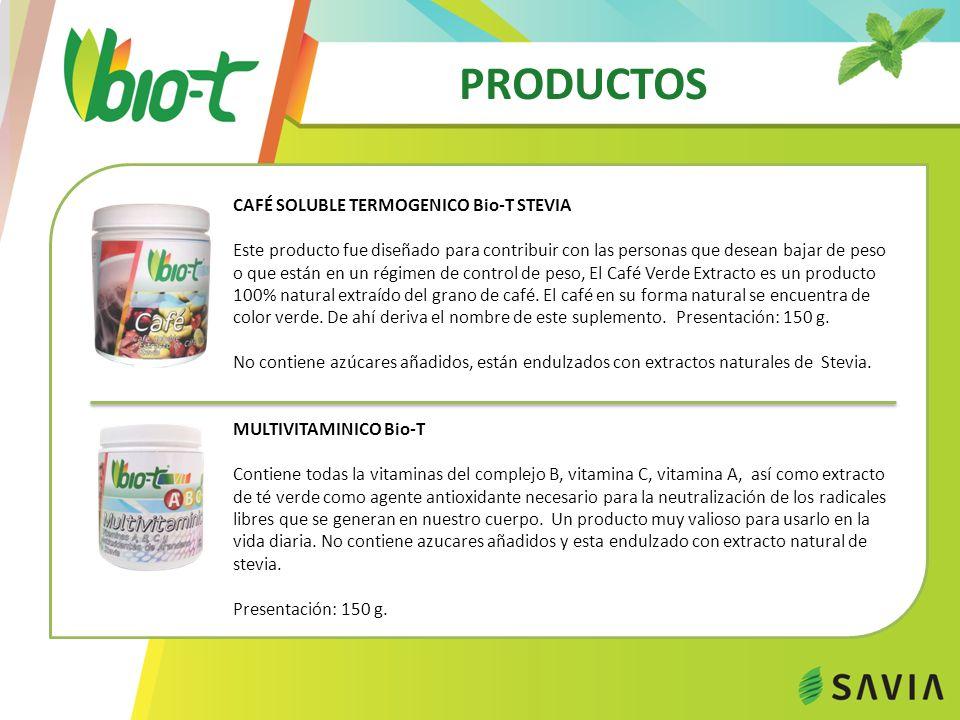 PRODUCTOS CAFÉ SOLUBLE TERMOGENICO Bio-T STEVIA Este producto fue diseñado para contribuir con las personas que desean bajar de peso o que están en un