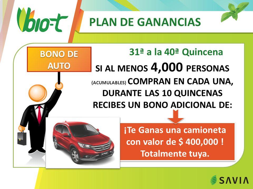 PLAN DE GANANCIAS 31ª a la 40ª Quincena ¡Te Ganas una camioneta con valor de $ 400,000 ! Totalmente tuya. ¡Te Ganas una camioneta con valor de $ 400,0