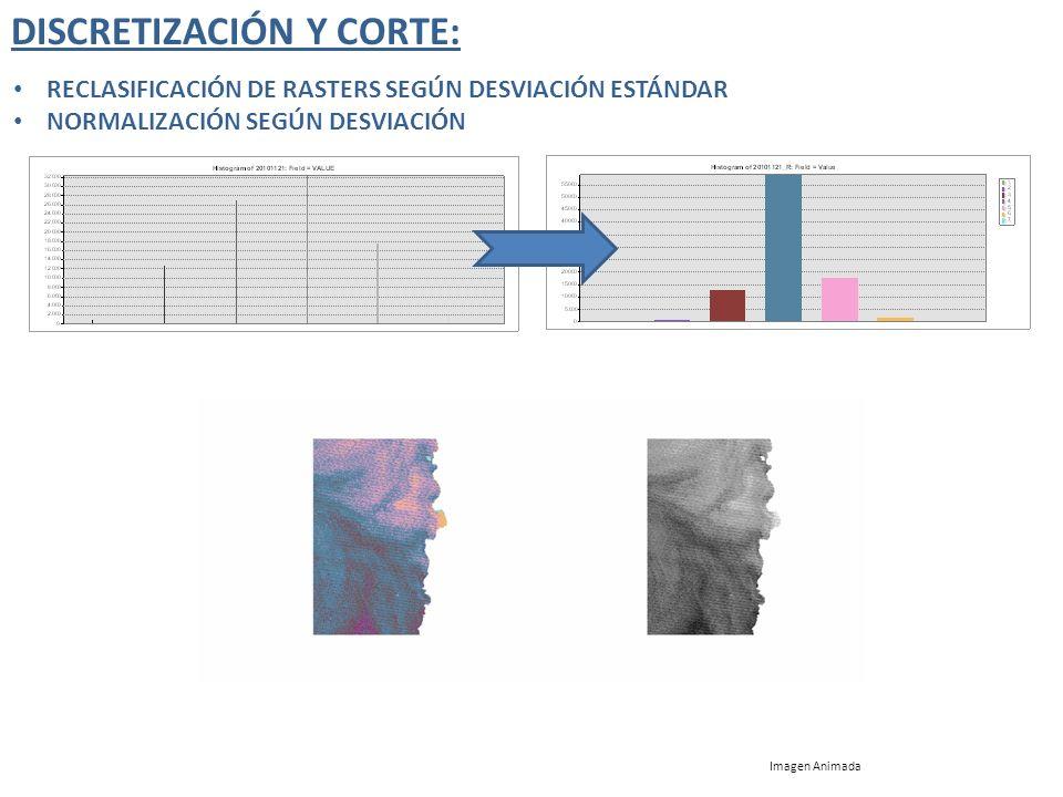 DISCRETIZACIÓN Y CORTE: RECLASIFICACIÓN DE RASTERS SEGÚN DESVIACIÓN ESTÁNDAR NORMALIZACIÓN SEGÚN DESVIACIÓN Imagen Animada