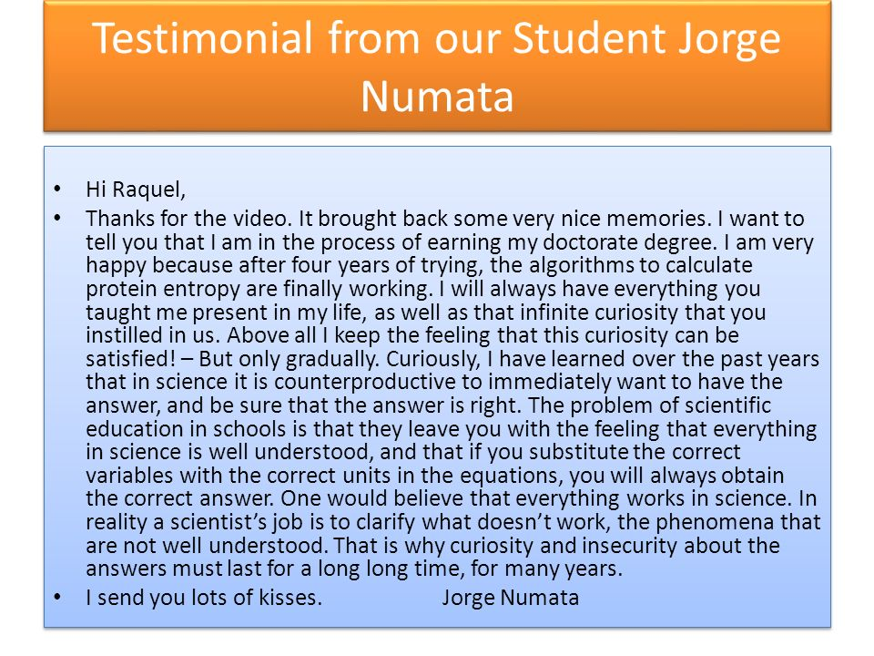 Testimonial from our Student Jorge Numata Hi Raquel, Thanks for the video.