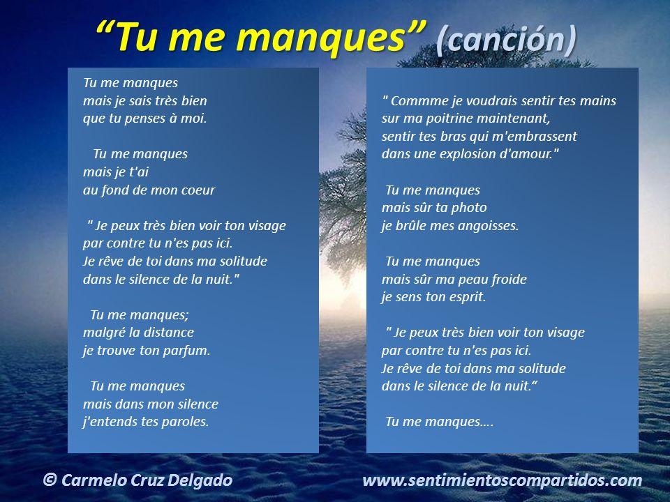 13(c) carMELOS Cruz Delgado Ciencia y Espiritualidad © Carmelo Cruz Delgado www.sentimientoscompartidos.com Tu me manques (canción) Tu me manques mais je sais très bien que tu penses à moi.