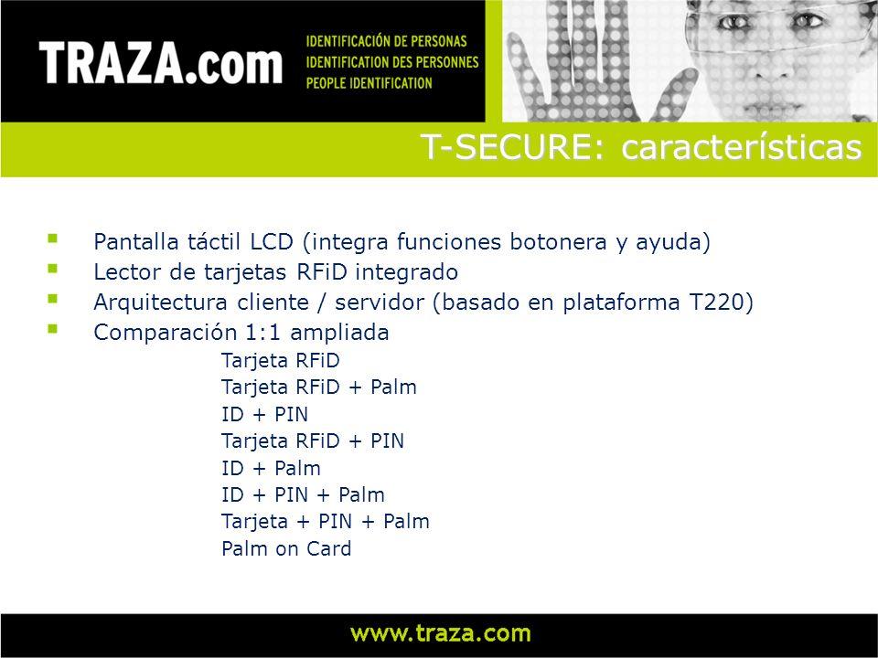 Pantalla táctil LCD (integra funciones botonera y ayuda) Lector de tarjetas RFiD integrado Arquitectura cliente / servidor (basado en plataforma T220)