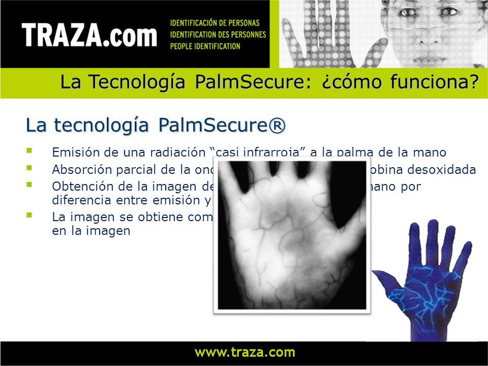 La Tecnología PalmSecure: ¿cómo funciona? Emisión de una radiación casi infrarroja a la palma de la mano Absorción parcial de la onda por parte de la