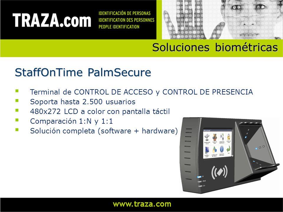 Soluciones biométricas Terminal de CONTROL DE ACCESO y CONTROL DE PRESENCIA Soporta hasta 2.500 usuarios 480x272 LCD a color con pantalla táctil Compa