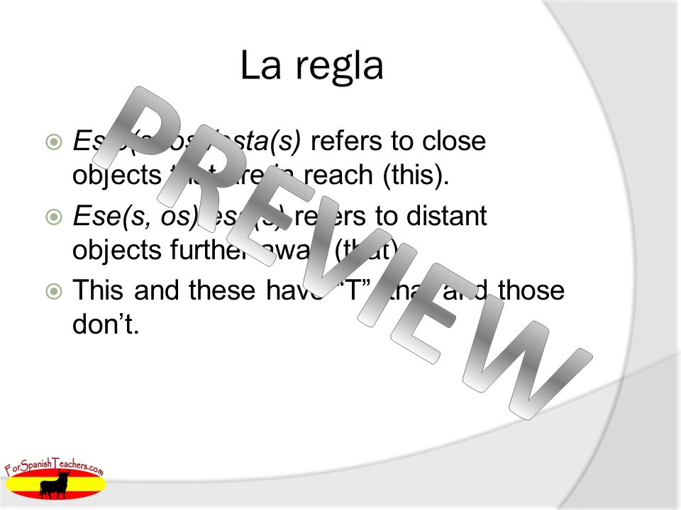 La regla Este(s, os)/esta(s) refers to close objects that are in reach (this). Ese(s, os)/esa(s) refers to distant objects further away (that). This a