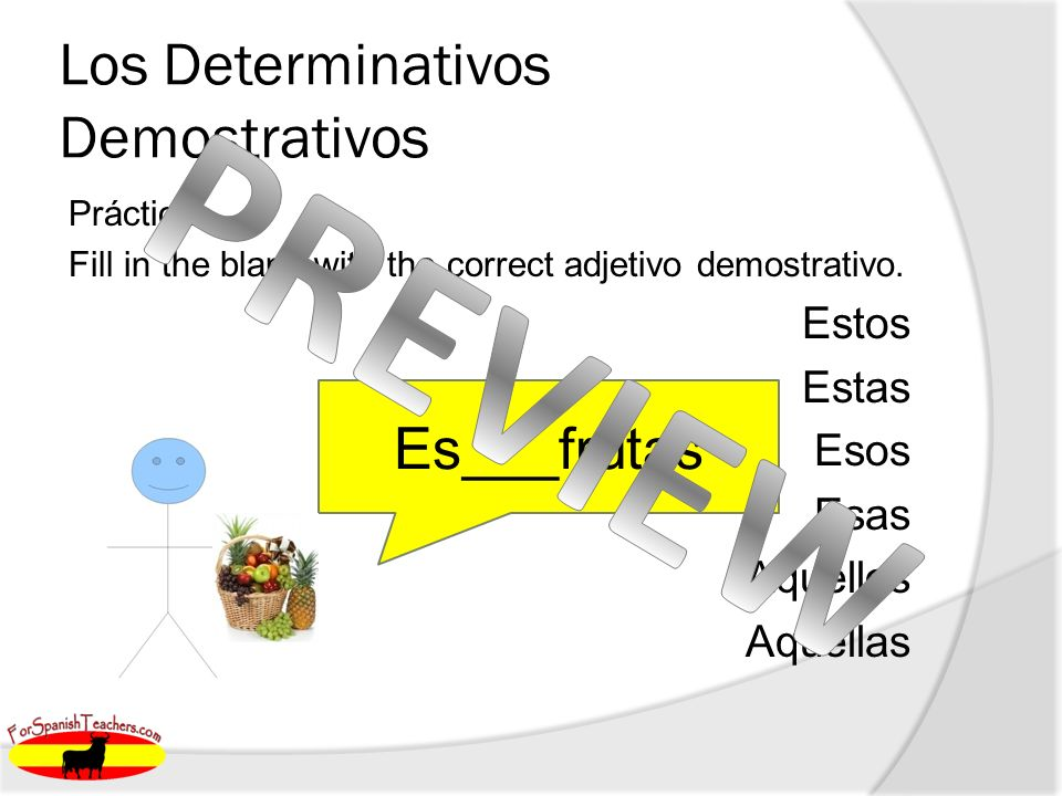Los Determinativos Demostrativos Práctica: Fill in the blank with the correct adjetivo demostrativo.