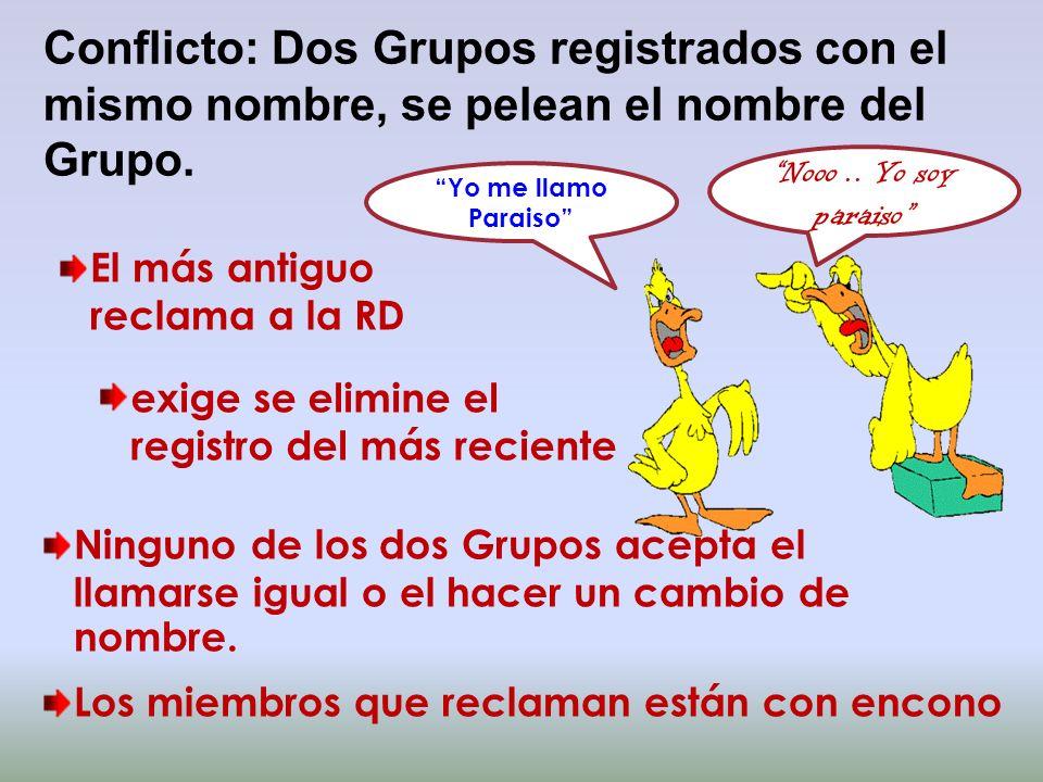 Conflicto: Dos Grupos registrados con el mismo nombre, se pelean el nombre del Grupo. El más antiguo reclama a la RD exige se elimine el registro del