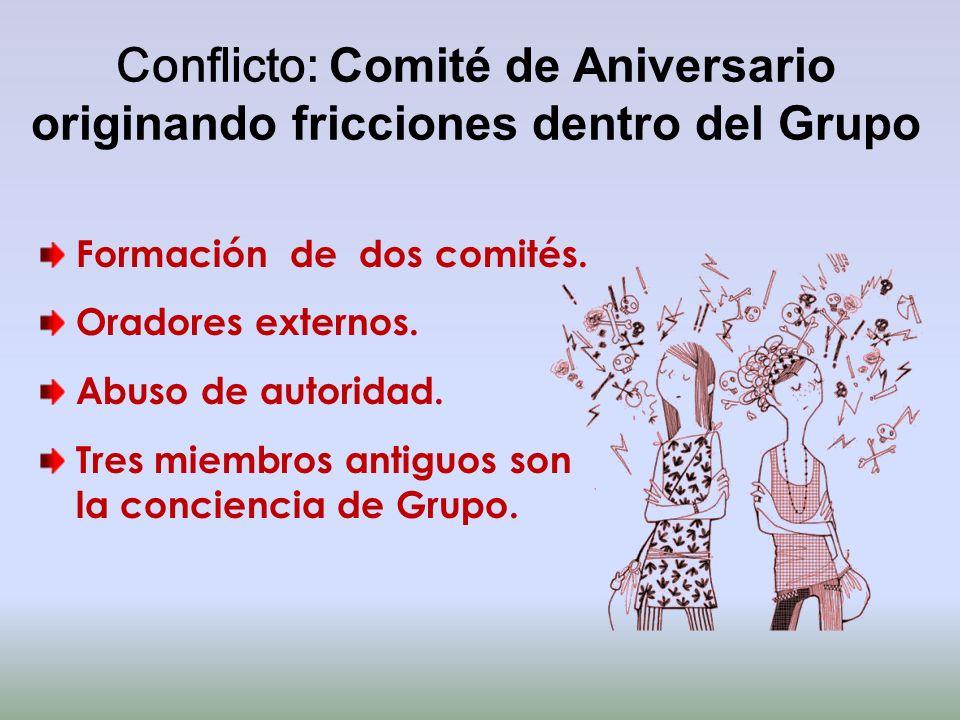 Conflicto: Comité de Aniversario originando fricciones dentro del Grupo Formación de dos comités. Oradores externos. Abuso de autoridad. Tres miembros