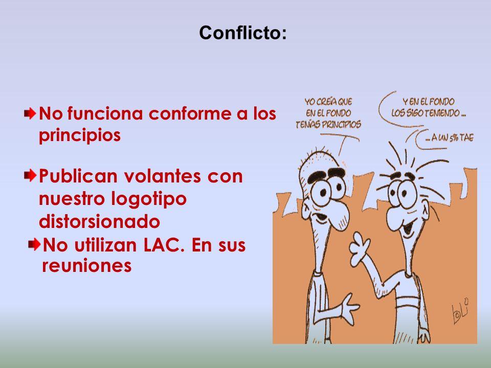 Conflicto: No funciona conforme a los principios Publican volantes con nuestro logotipo distorsionado No utilizan LAC. En sus reuniones