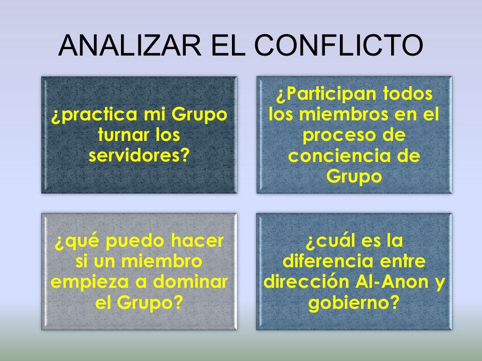 ANALIZAR EL CONFLICTO ¿practica mi Grupo turnar los servidores? ¿Participan todos los miembros en el proceso de conciencia de Grupo ¿qué puedo hacer s