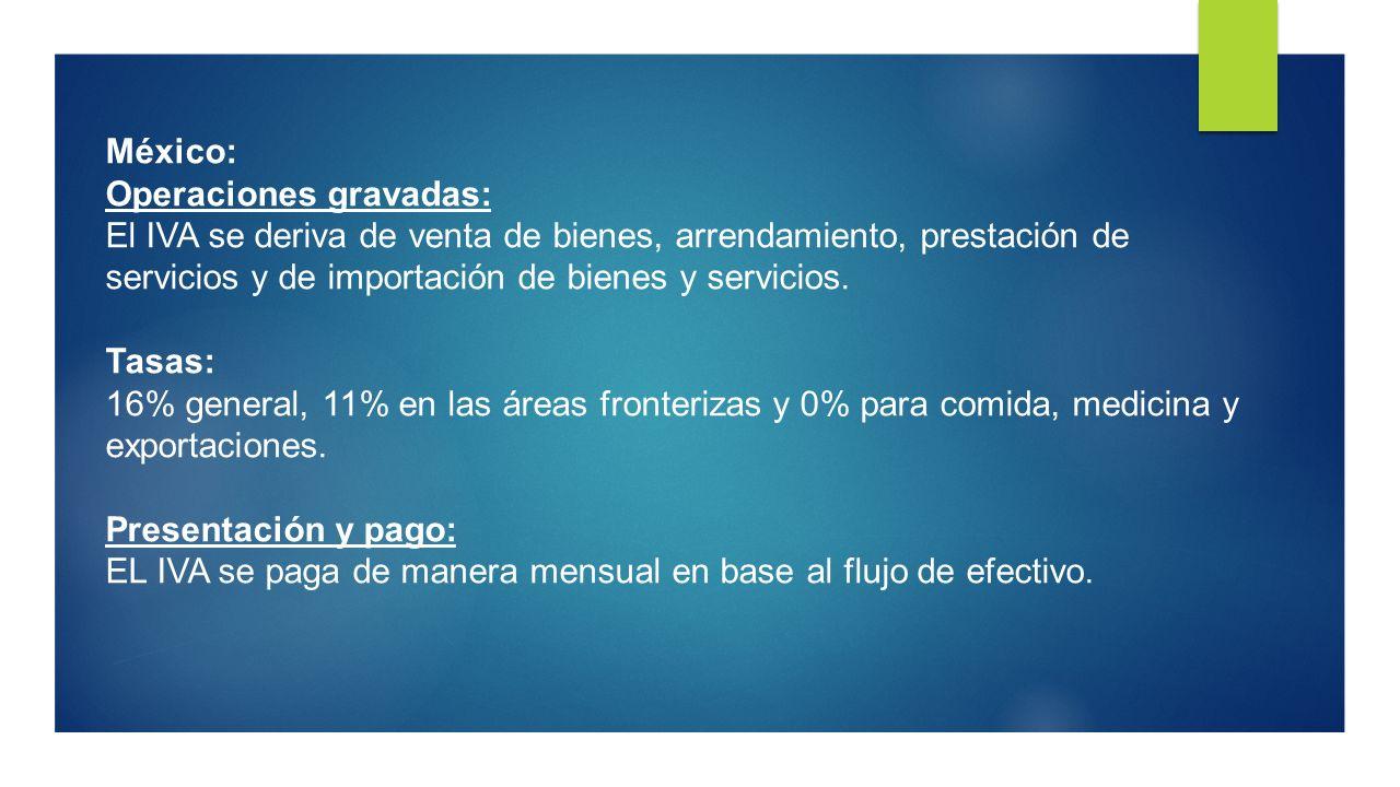 México: Operaciones gravadas: El IVA se deriva de venta de bienes, arrendamiento, prestación de servicios y de importación de bienes y servicios. Tasa