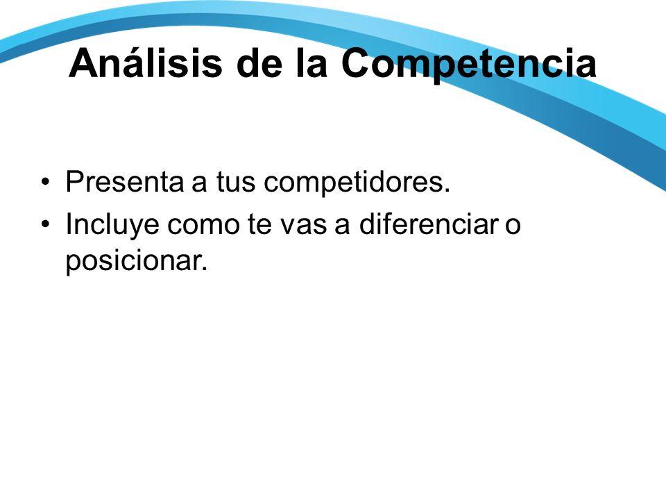 Análisis de la Competencia Presenta a tus competidores.